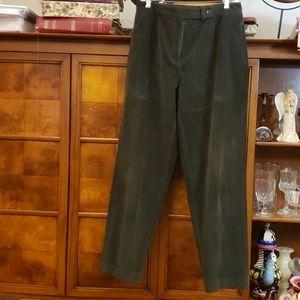 TALBOTS STRETCH GREEN CORDUROY PANTS SZ 12
